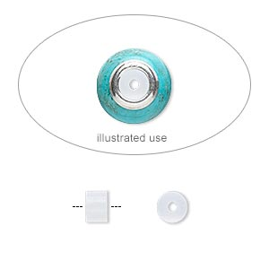 bead adaptor, silicone, clear, 5x3.5mm round tube, fits 4.5-5mm bead hole. sold per pkg of 100.