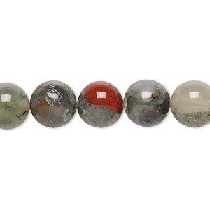 bead, african bloodstone (natural), 10mm round, b grade, mohs hardness 6-1/2 to 7. sold per 16-inch strand.