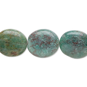bead, african jade (natural), 16x14mm flat oval, b grade, mohs hardness 7. sold per 16-inch strand.