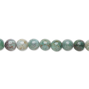 bead, african jade (natural), light to medium, 6mm round, b grade, mohs hardness 7. sold per 16-inch strand.
