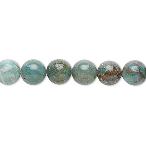 bead, african jade (natural), light to medium, 8mm round, b grade, mohs hardness 7. sold per 16-inch strand.
