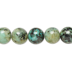 bead, african turquoise (dyed), 10mm round, c grade, mohs hardness 6-1/2 to 7. sold per 16-inch strand.