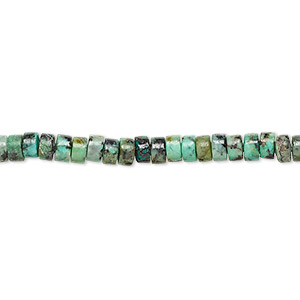 bead, african turquoise (dyed), 4x2mm heishi, c grade, mohs hardness 6-1/2 to 7. sold per 16-inch strand.