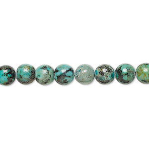 bead, african turquoise (dyed), 6mm round, c grade, mohs hardness 6-1/2 to 7. sold per 16-inch strand.