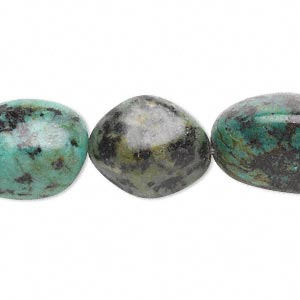 bead, african turquoise (dyed), large tumbled nugget, mohs hardness 6-1/2 to 7. sold per 16-inch strand.