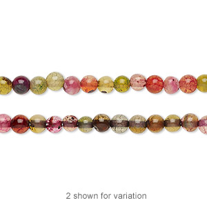 bead, agate (dyed), multicolored, 3-4mm round, c grade, mohs hardness 6-1/2 to 7. sold per 14-inch strand.