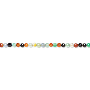 bead, agate (natural / dyed / heated), multicolored, 2mm round, b grade, mohs hardness 6-1/2 to 7. sold per 16-inch strand.