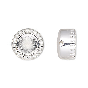 bead, almost instant jewelry, silver-plated pewter (zinc-based alloy), 10mm beaded round with ss29 rivoli setting. sold individually.