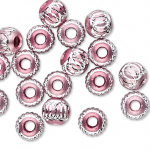 bead, aluminum, pink, 8mm diamond-cut round 2.5-3.5mm hole. sold per pkg of 20.
