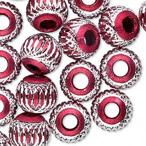 bead, aluminum, red, 12mm diamond-cut round with 4.5-5.5mm hole. sold per pkg of 20.