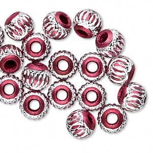 bead, aluminum, red, 8mm diamond-cut round with 2.5-3.5mm hole. sold per pkg of 20.