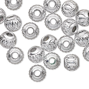 bead, aluminum, silver, 8mm diamond-cut round with 2.5-3.5mm hole. sold per pkg of 20.