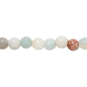 bead, amazonite (natural), 6-7mm faceted round, b- grade, mohs hardness 6 to 6-1/2. sold per 15-inch strand.