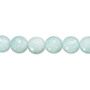 bead, amazonite (natural), 8mm faceted round, a- grade, mohs hardness 6 to 6-1/2. sold per 16-inch strand.