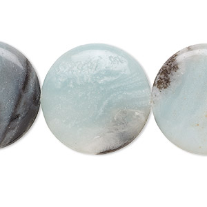 bead, amazonite with black tourmaline (natural), 30mm flat round, b grade, mohs hardness 6 to 6-1/2. sold per 16-inch strand.