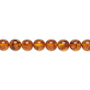 bead, amber and resin (assembled), 6mm round, mohs hardness 2 to 2-1/2. sold per 16-inch strand.