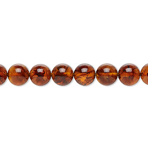 bead, amber and resin (assembled), 7mm round, mohs hardness 2 to 2-1/2. sold per 16-inch strand.