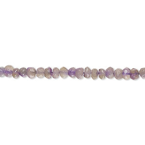bead, amethyst (dyed), 3x2mm-4x3mm hand-cut faceted rondelle, d grade, mohs hardness 7. sold per 12-inch strand.