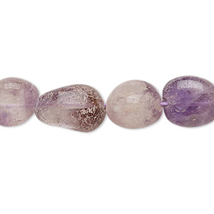bead, amethyst (dyed), small to medium hand-cut tumbled nugget, mohs hardness 7. sold per 13-inch strand.