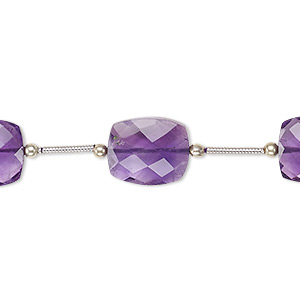 bead, amethyst (natural), 12x10mm-14x10mm hand-cut faceted rectangle, b grade, mohs hardness 7. sold per pkg of 5 beads.