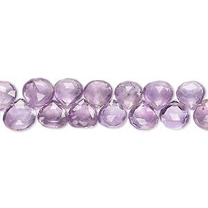 bead, amethyst (natural), 6x6mm-8x8mm hand-cut top-drilled faceted puffed teardrop, b grade, mohs hardness 7. sold per 4-inch strand.