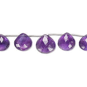 bead, amethyst (natural), 8x7mm-11x11mm graduated hand-cut top-drilled faceted puffed teardrop, b grade, mohs hardness 7. sold per 4-inch strand, approximately 9 beads.