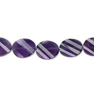 bead, amethyst (natural), dark, 11x9mm hand-cut faceted twisted flat oval, b+ grade, mohs hardness 7. sold per pkg of 5.