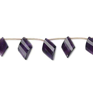 bead, amethyst (natural), dark, 15x10mm-18x12mm graduated hand-cut top-drilled faceted twisted diamond, b+ grade, mohs hardness 7. sold per pkg of 5 beads.