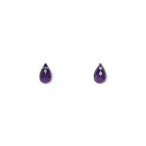 bead, amethyst (natural), dark, 6x4mm hand-cut top-drilled faceted briolette, b grade, mohs hardness 7. sold per pkg of 2.