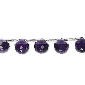 bead, amethyst (natural), dark, 7x7mm-8x8mm hand-cut top-drilled faceted teardrop, b+ grade, mohs hardness 7. sold per pkg of 5 beads.