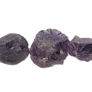 bead, amethyst (natural), dark, small to medium hand-cut rough nugget, mohs hardness 7. sold per pkg of 5.