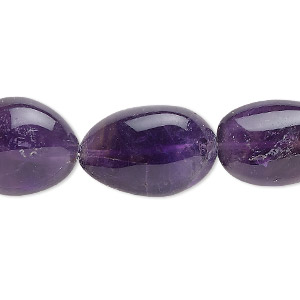 bead, amethyst (natural), large tumbled nugget, mohs hardness 7. sold per 16-inch strand.