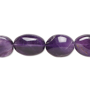 bead, amethyst (natural), medium to dark, 11x10mm-14x12mm hand-cut oval, c grade, mohs hardness 7. sold per 16-inch strand.