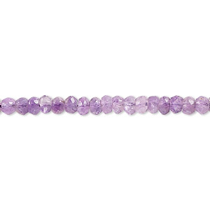 bead, amethyst (natural), medium to dark, 3x2mm-4x3mm hand-cut faceted rondelle, b grade, mohs hardness 7. sold per 16-inch strand.