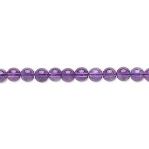 bead, amethyst (natural), medium to dark, 4mm round, b grade, mohs hardness 7. sold per 16-inch strand.