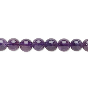 bead, amethyst (natural), medium to dark, 6mm round, c grade, mohs hardness 7. sold per 16-inch strand.