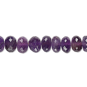 bead, amethyst (natural), medium to dark, 8x4mm-9x6mm hand-cut faceted rondelle, c+ grade, mohs hardness 7. sold per 8-inch strand.