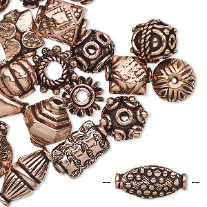 bead and bead cap, antiqued copper, 8x5mm-15x10mm assorted shape. sold per pkg of 20.