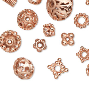 bead and bead cap, copper, 5x2mm-15x14mm assorted shape with 1.1-4mm hole. sold per pkg of 20.