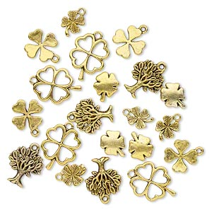 bead and charm, antique gold-finished pewter (zinc-based alloy), 12x10mm-22x17mm single- and double-sided assorted clover and tree. sold per pkg of 20.