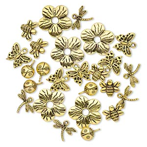 bead and charm, antique gold-finished pewter (zinc-based alloy), 9x9mm-23x23mm assorted single- and double-sided insect and flower. sold per pkg of 25.