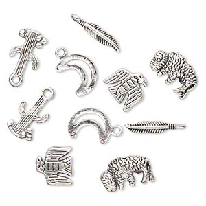 bead and charm, antiqued silver-finished pewter (zinc-based alloy), 12x12mm-19x4mm assorted southwest theme. sold per pkg of 10.