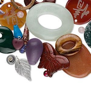 bead and component mix, gemstone (natural / dyed / manmade) and glass, mixed colors, 3-50mm mixed shape, c grade. sold per 1/4 kilogram pkg, approximately 25-250 components.