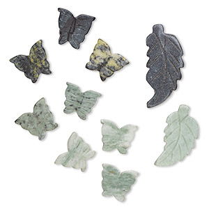 bead and focal mix, multi-serpentine (natural), 18x17mm-48x25mm carved butterfly and carved leaf, d grade, mohs hardness 2-1/2 to 6. sold per pkg of 10.