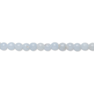 bead, angelite (natural / waxed), 4mm round, b grade, mohs hardness 3 to 3-1/2. sold per 16-inch strand.