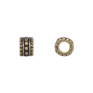 bead, antique brass-finished pewter (zinc-based alloy), 9x6mm beaded rondelle, 4.5mm hole. sold per pkg of 10.