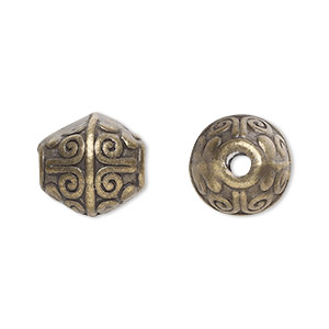 bead, antique brass-plated pewter (zinc-based alloy), 12x11mm bicone with 2mm hole. sold per pkg of 20.