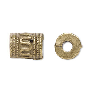bead, antique brass-plated pewter (zinc-based alloy), 13x10mm fancy cylinder, 4mm hole. sold per pkg of 20.
