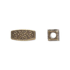 bead, antique brass-plated pewter (zinc-based alloy), 13x6mm squared oval with 3mm hole. sold per pkg of 20.