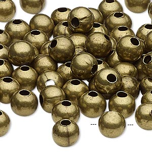 bead, antique brass-plated steel, 8mm round with 2.5mm hole. sold per pkg of 100.